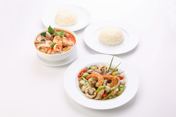 Thai Food, Stir-fried Black Pepper with Seafood Tom-Yum