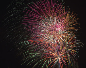Fireworks bursting in the air on Independence Day