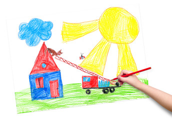 child hand with pencil draw a picture