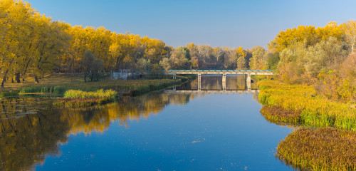 Peaceful autumnal afternoon on a Psel river in Ukraine