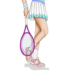 Illustration of girl weaing a tennis skirt