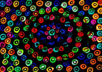 Dark circle background.