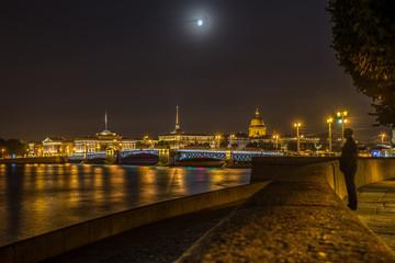 Admiralty, Saint Isaac's Cathedral and Palace Bridge at night