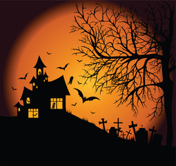 Frightening night landscape with cemetery, tree and ghost- house