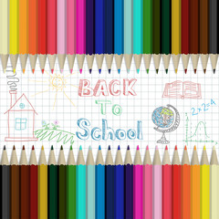 Pencils multicolored abstract background Back to School