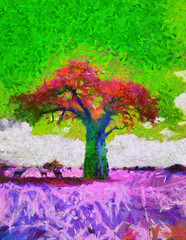 acid colors African Baobab tree landscapepsychedelic oil painting