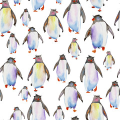 Seamless pattern with watercolor penguins on a white background