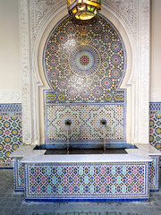 Typical moroccan tiled fountain