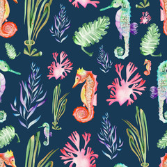 Seamless pattern with multicolored seahorses and seaweed (algae) painted in watercolor on a dark blue background