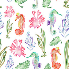 Seamless pattern with multicolored seahorses and seaweed (algae) painted in watercolor on a white background