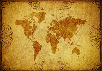 gold grunge paper with vintage map