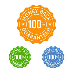 Money back guarantee seal or stamp flat icon
