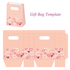 Pink gift bag template with circles buy this stock vector and see more maxwellsz
