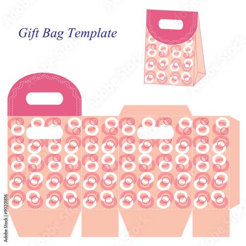 pink gift bag template with circles stock image and royalty free