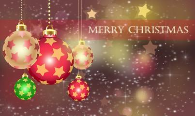 Christmas theme with gold orange glass balls