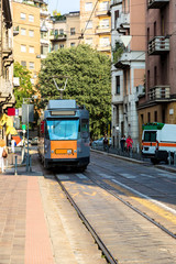 Old traditional tram in Milan