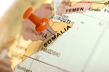 Location Somalia. Red pin on the map.