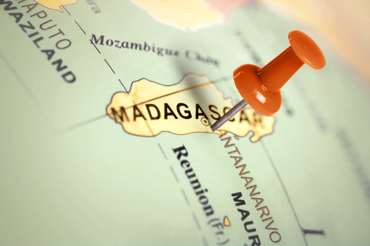 Location Madagascar. Red pin on the map.