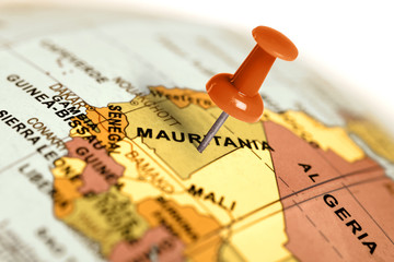 Location Mauritania. Red pin on the map.