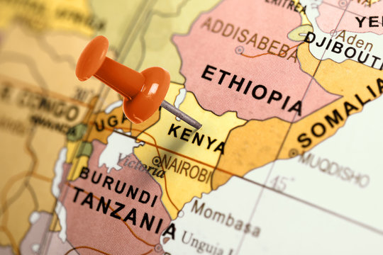 Location Kenya. Red pin on the map.