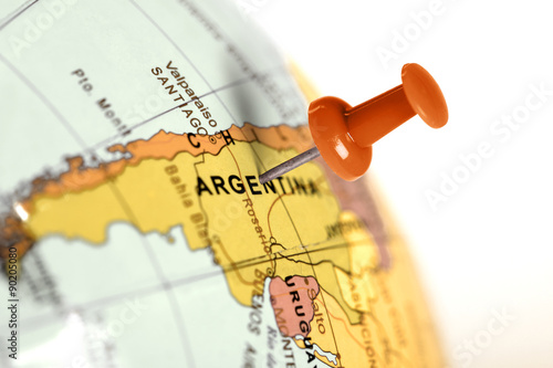 Location Argentina Red Pin On The Map Stock Photo And Royalty - Argentina globe map