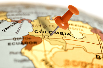 Canvas Prints South America Country Location Colombia. Red pin on the map.