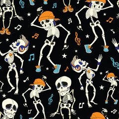 Vector Dancing Skeletons Party Halloween Seamless Pattern. Music