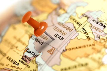 Location Iran. Red pin on the map.