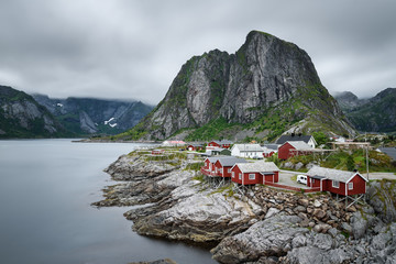 Wall Mural - Traditional red rorbu cottages  in Hamnoy village, Lofoten islan