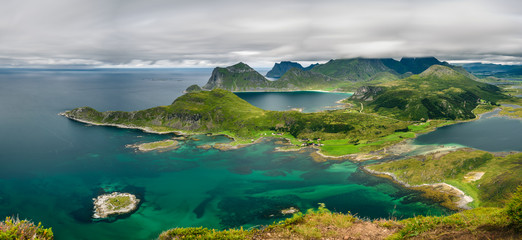Wall Mural - Panorama view from Offersoykammen, Lofoten islands, Norway