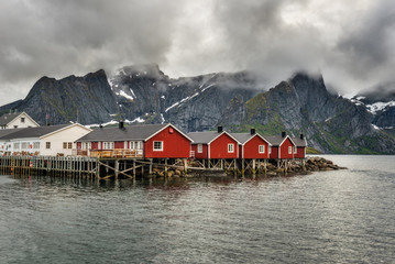 Wall Mural - Red fishing cabins in Hamnoy, Norway
