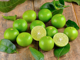 Fresh lime  on wooden  background