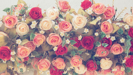 Wall Mural - Vintage Bouquet of  Roses for wedding, soft focus effect