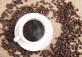 Hot Coffee on gunny-bag