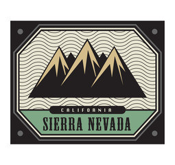 Stamp with the text Sierra Nevada, California