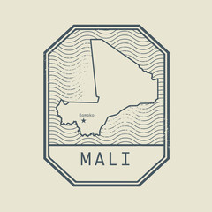 Stamp with the name and map of Mali