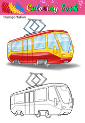 Coloring of tram. Coloring book for kids. Street car isolated on white background