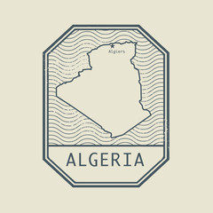 Stamp with the name and map of Algeria
