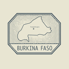 Stamp with the name and map of Burkina Faso