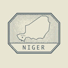 Stamp with the name and map of Niger
