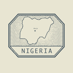 Stamp with the name and map of Nigeria