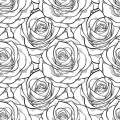 beautiful black and white seamless pattern in roses with contours. . for greeting cards and invitations of the wedding, birthday, Valentine's Day, mother's day and other seasonal holidays