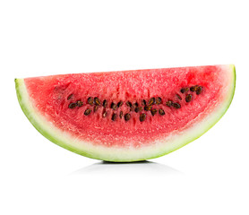 slice of watermelon close-up isolated on a white background