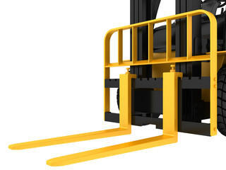 View close-up forklift truck cargo isolated on white background