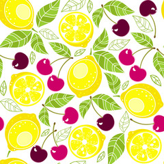 seamless pattern Lemons with leaves and cherry on a white background. Vector illustration