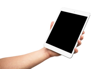 Man's hand holding white tablet with blank black screen - isolated on white