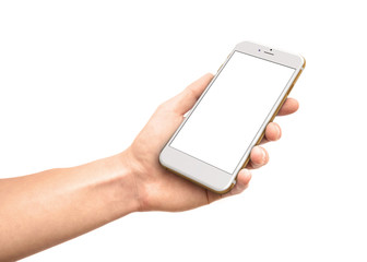 Man hand holding the white smartphone with blank screen.