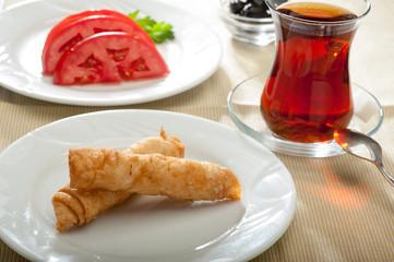 Sigara Boregi with tea