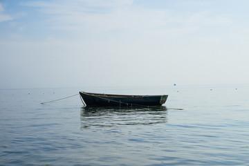 Boat at anchor in sea