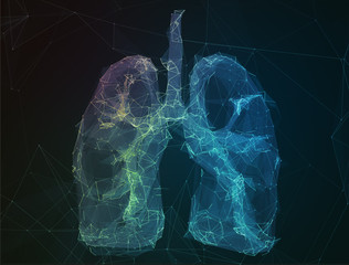 The abstract image human lungs in form of lines communication